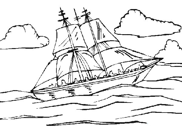 大海里的船简笔画,画画网