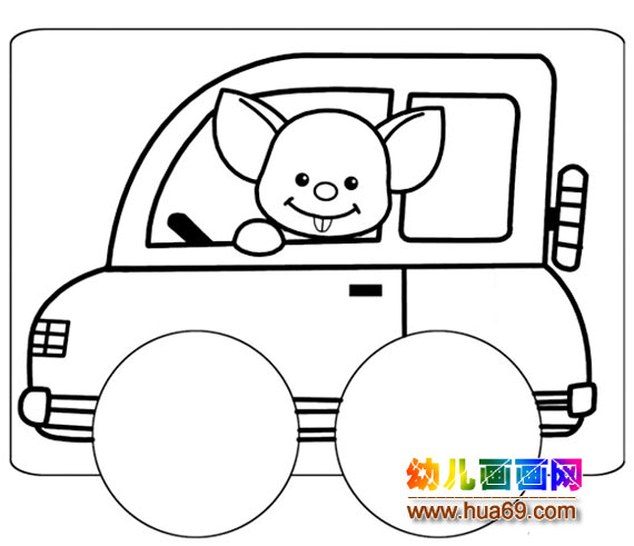 小猪开小汽车简笔画,画画网;