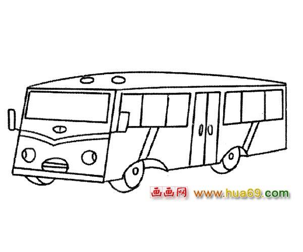 交通工具简笔画:长形公交车1