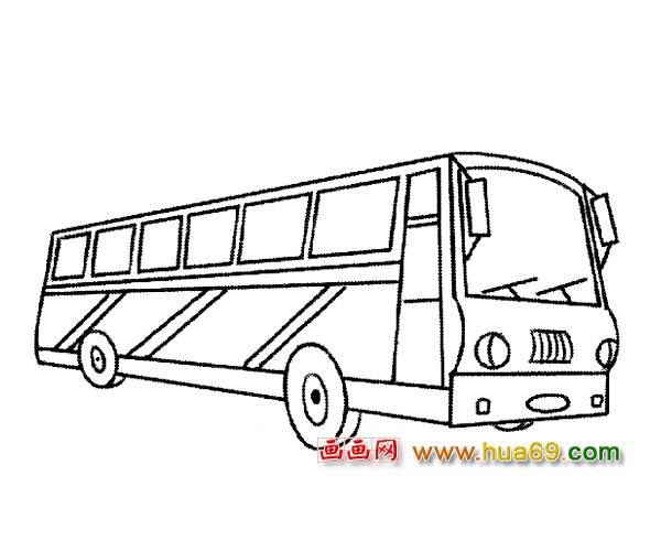 交通工具简笔画 彩条公交车