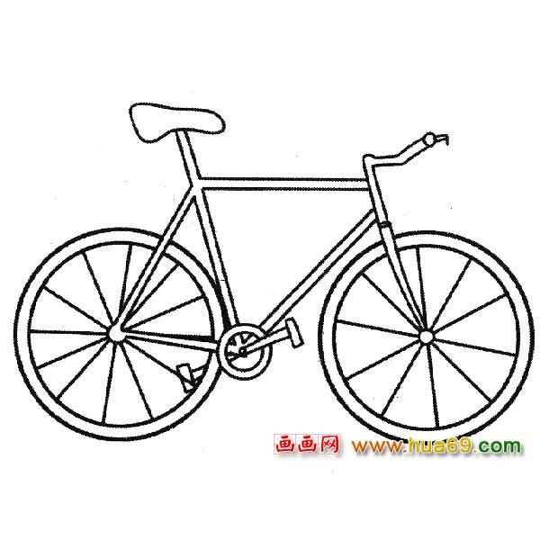 简笔画│男式自行车2,画画网
