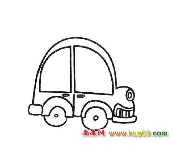 简笔画:儿童坐的小汽车2