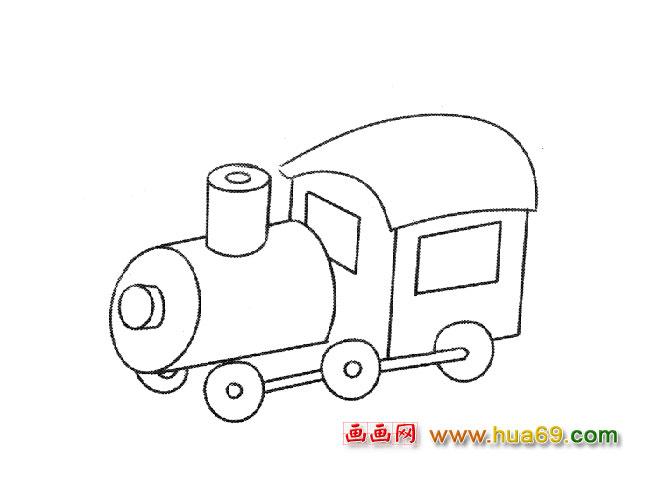 简笔画:火车头2,画画网