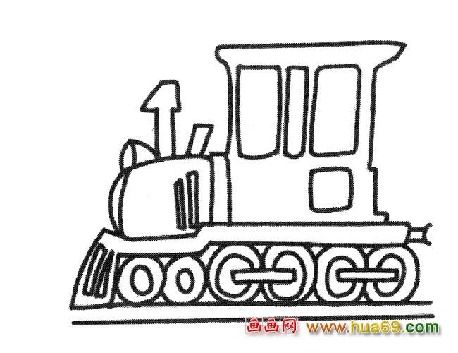 老式火车头(简笔画)