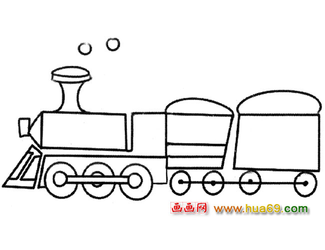 一列蒸汽火车(简笔画)