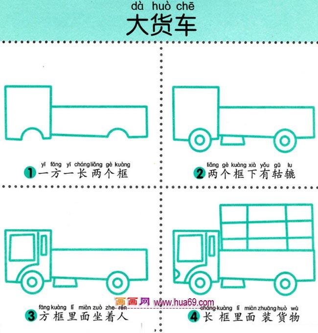幼儿简笔画图解教程:四步画大货车