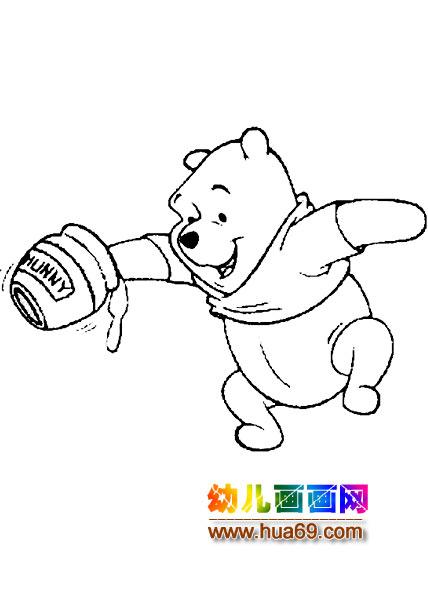 小熊维尼拿蜂蜜简笔画2