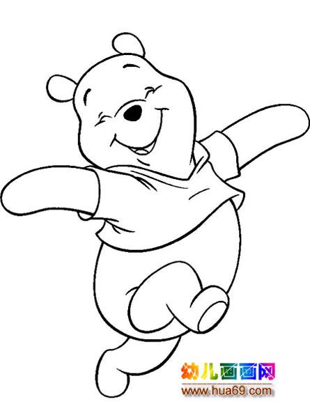 卡通简笔画 开心的小熊维尼,画画网 高清图片