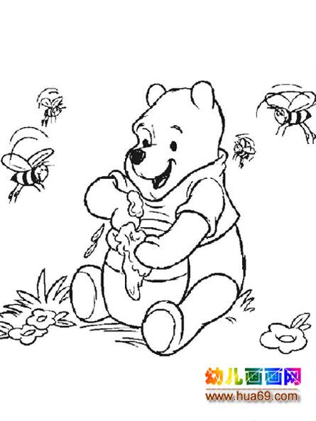 小熊维尼吃蜂蜜简笔画
