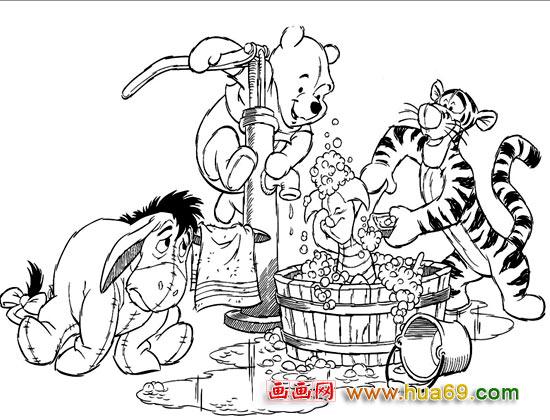 卡通简笔画 维尼洗澡图片