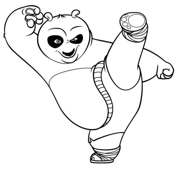 儿童简笔画图片:厉害的功夫熊猫