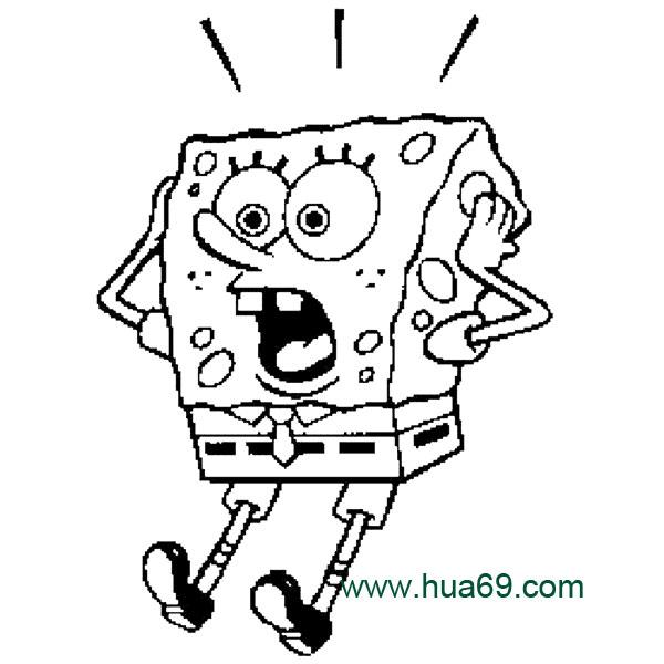 卡通简笔画:惊讶的海绵宝宝