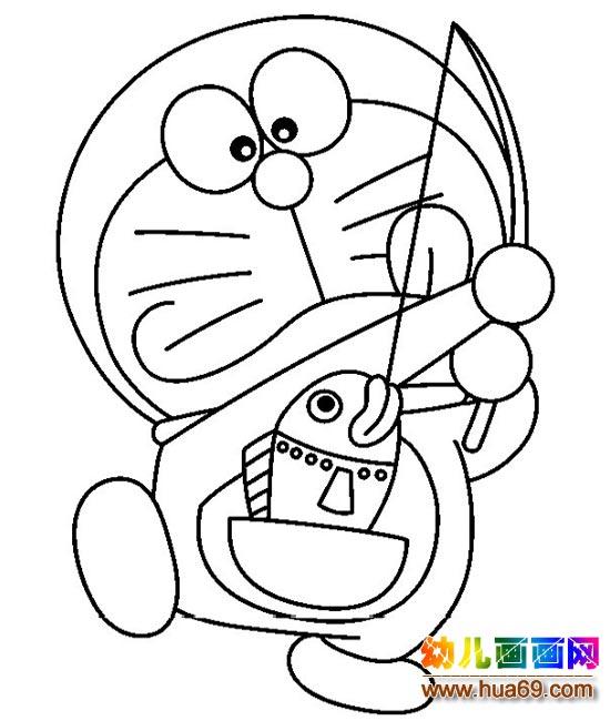 钓鱼的机器猫_儿童卡通简笔画图片