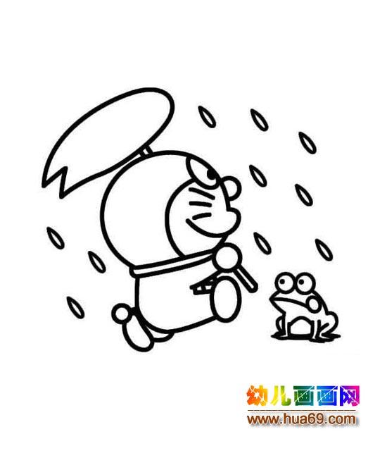 雨中遇青蛙的机器猫_儿童卡通简笔画图片