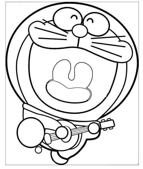 大嘴巴唱歌的机器猫_儿童卡通简笔画图片