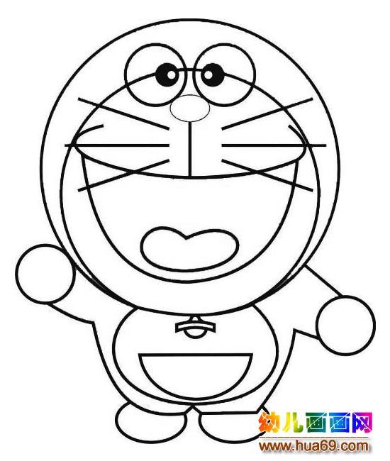 可爱的大头机器猫 儿童卡通简笔画图片