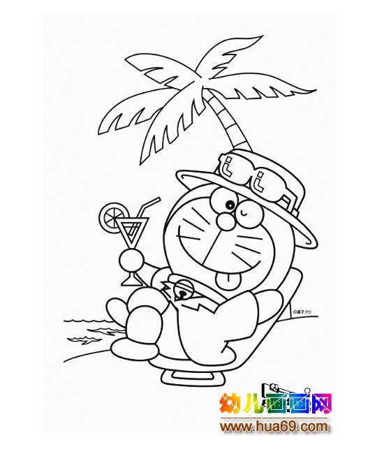 在度假的機器貓(兒童簡筆畫)