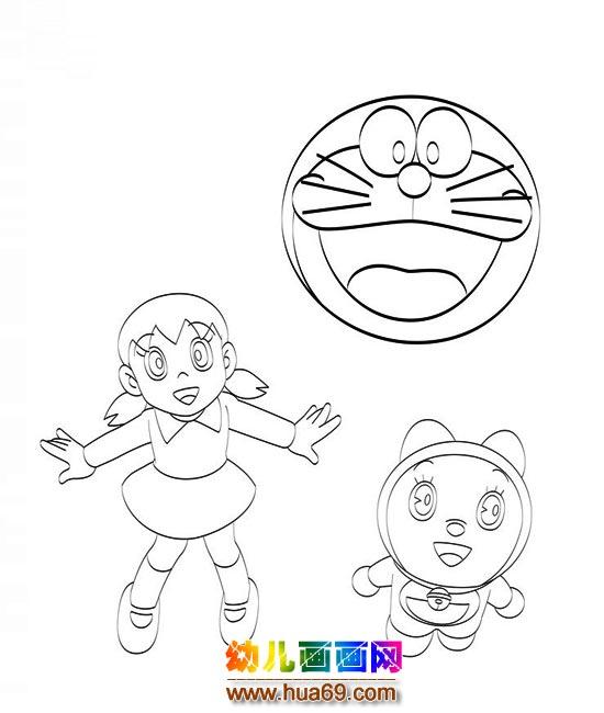 機器貓和靜香(兒童簡筆畫)