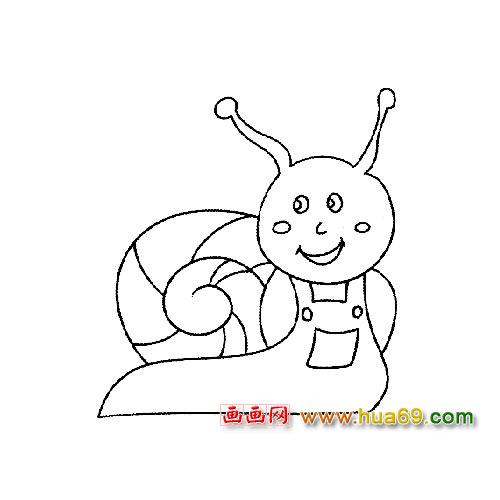 动物简笔画:开心的小蜗牛