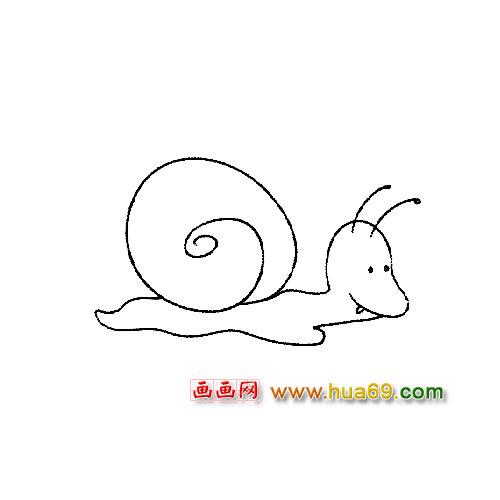 动物简笔画:一只爬行的小蜗牛