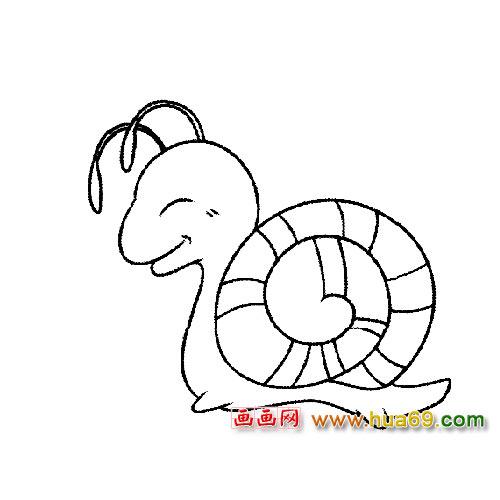 微笑的蜗牛简笔画,画画网