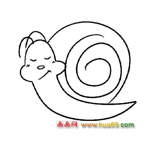 简笔画:睡觉的小蜗牛,画画网