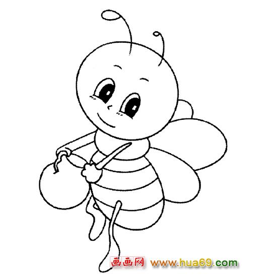 小蜜蜂提小桶简笔画图片展示