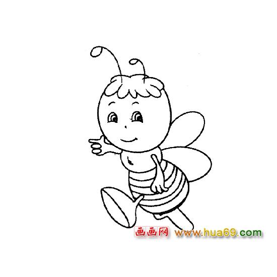 跑步的蜜蜂简笔画,画画网