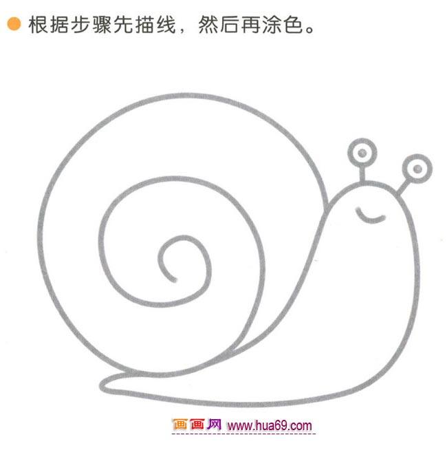 儿童简笔画:四步画小蜗牛图解教程 www.hua69.com 宽 .