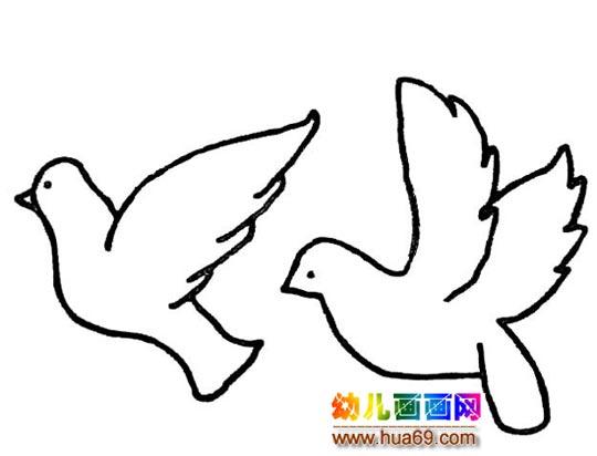 简笔画 两只和平鸽4图片