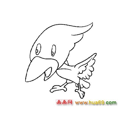 卡通小啄木鸟简笔画3,画画网