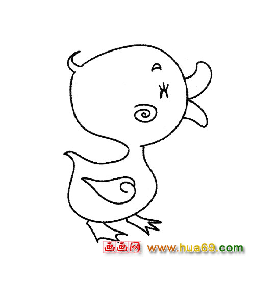 小鸭子吃西瓜的简笔画展示