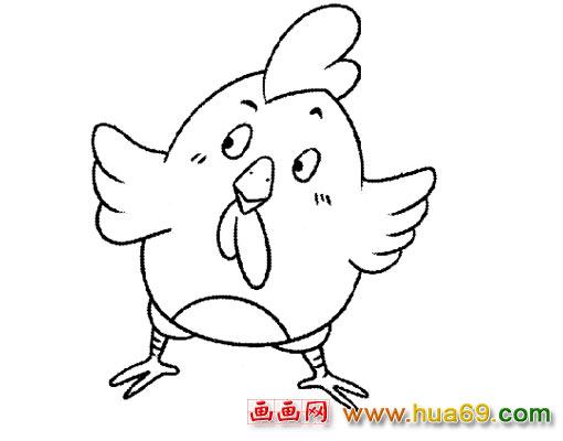 母鸡和小鸡简笔画彩色_简笔画吹泡泡