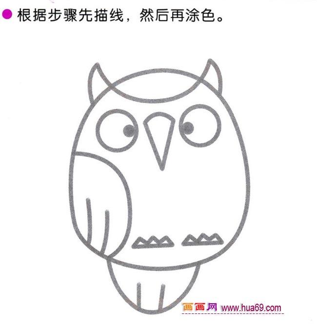 幼儿简笔画:画一只圆眼猫头鹰的教程