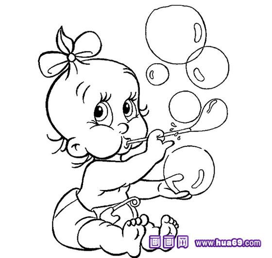 画画网; 小孩玩泡泡简笔画2-幼儿园简笔画;