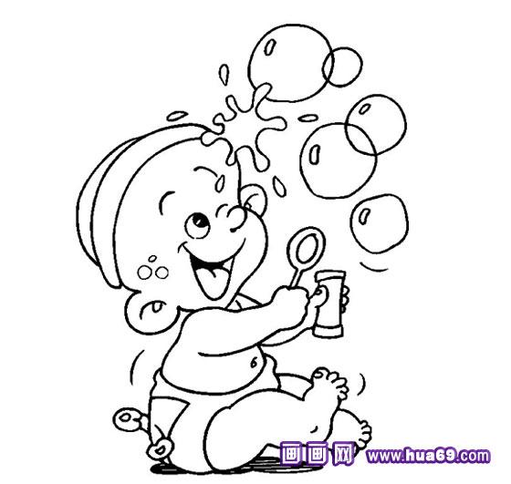 小孩玩泡泡的简笔画,画画网