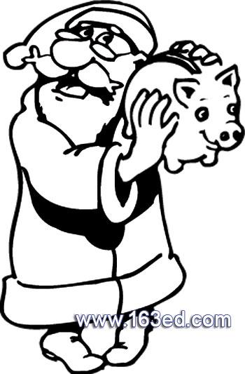 拿存钱罐的圣诞老人简笔画