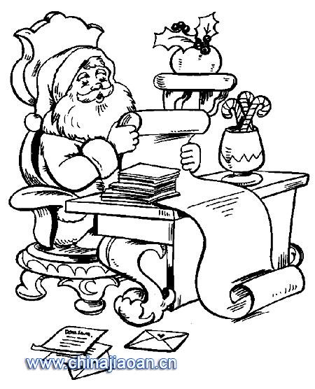 写信圣诞老在人简笔画