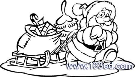 雪橇拉礼物的圣诞老人简笔画