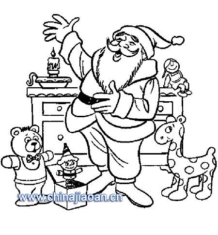 有很多礼物的圣诞老人简笔画