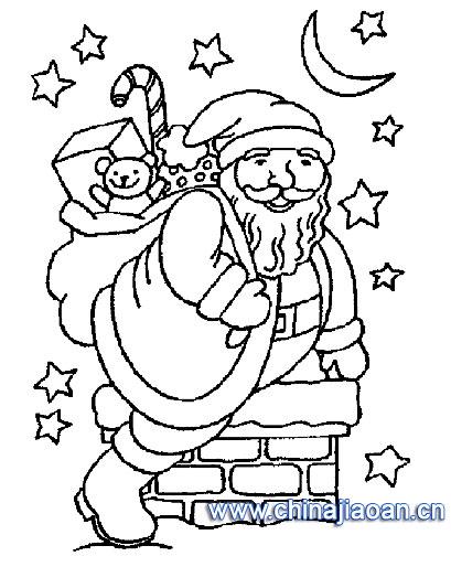 装满圣诞老人礼物的袜子简笔画