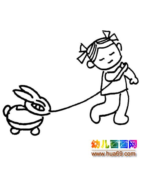 小女孩拉玩具的简笔画