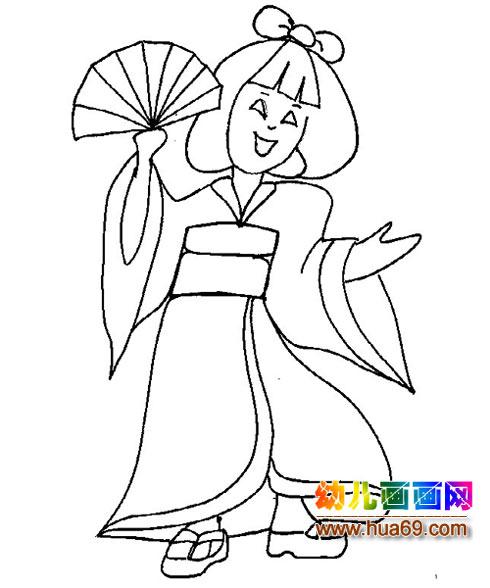 如何画女孩放风筝的简笔画