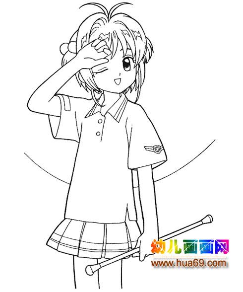 可爱小女孩简笔画4,画画网