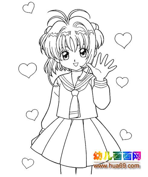 可爱小女孩简笔画3