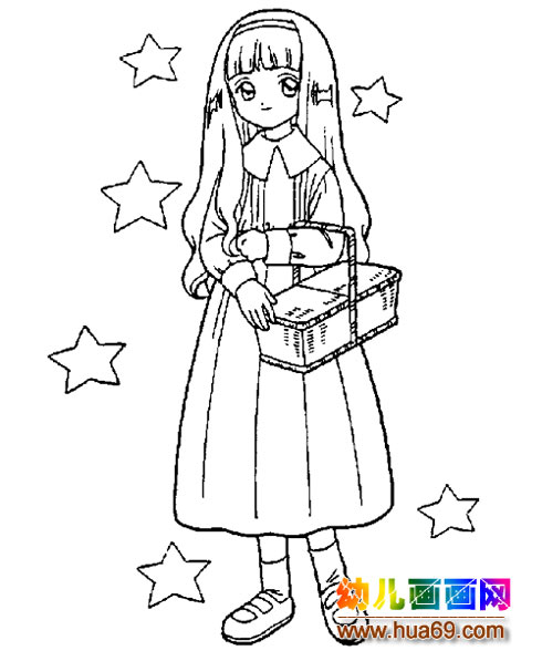 抱着兔子的女孩简笔画