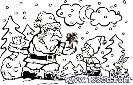 正送礼物的圣诞老人简笔画