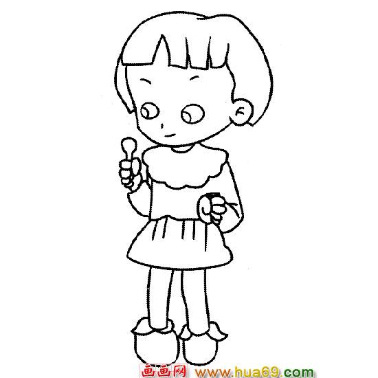 长发女孩卡通手绘