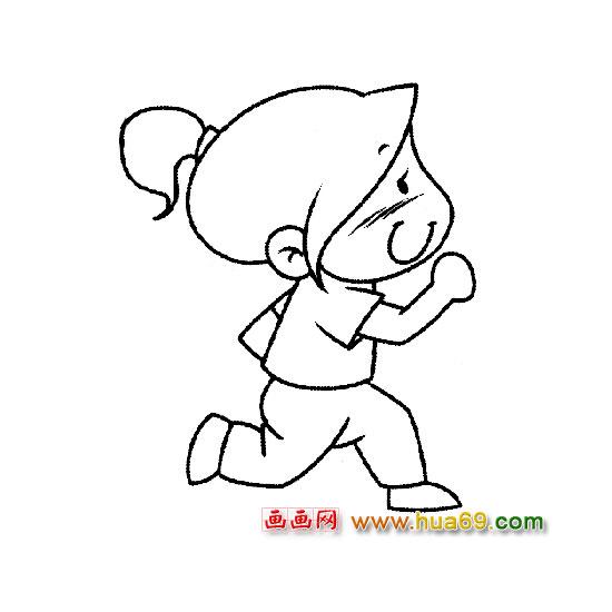 小女孩侧面跑步简笔画