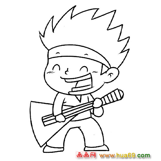 弹吉他的小男孩简笔画